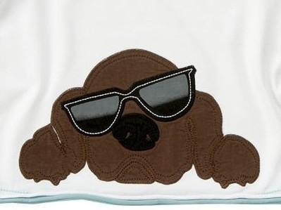 现货 美国代购gym旗下crazy8男童戴墨镜可爱小狗图案白色短袖t恤