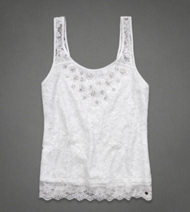 【特价】af女士 时尚/性感镂空 短袖小背心/蕾丝花边带雪花珠片