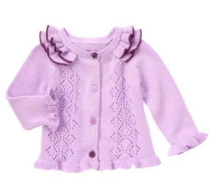 荷叶边女童婴儿钩针镂空针织开衫