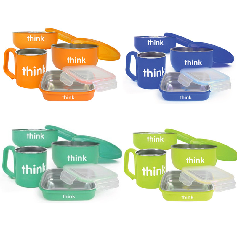美国ThinkBaby不锈钢餐具6件套装 婴幼儿童碗宝宝餐具 多种颜色