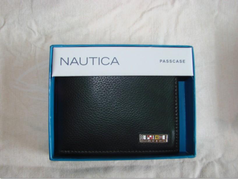 Nautica诺帝卡美式高风尚男士全真皮钱包,黑棕两色入