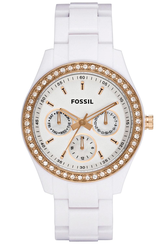 美国直邮Fossil Stella White Rose Gold纯白玫瑰金女士表 ES2869