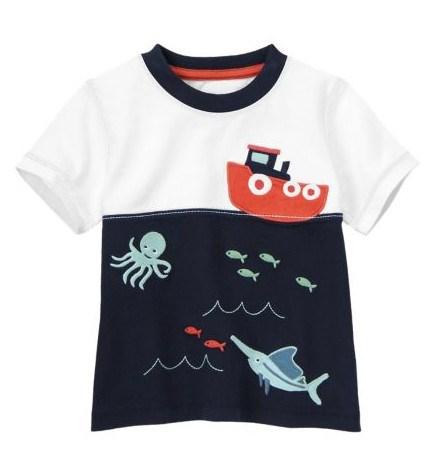 拼色海底世界轮船卡通