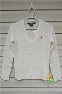 【一秒一淘1M1T】美国代购Ralph Lauren 100%羊绒 V领 毛衣 女款
