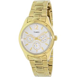 美国直邮timex金色不锈钢表带防水石英表T2P065