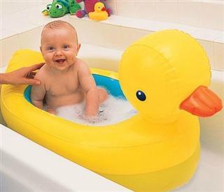 美国直邮munchkin 麦肯奇 黄色小鸭婴儿安全充气浴缸 水温感应防烫伤