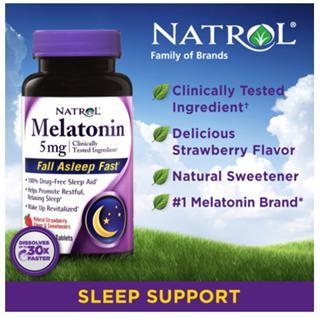帮助睡眠 美国NatrolMelatonin褪黑素脑白金含片 5mg 250粒草莓味