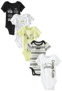 Calvin Klein卡文克莱 Newborn 5 Pack Bodysuit 婴儿连裤衣