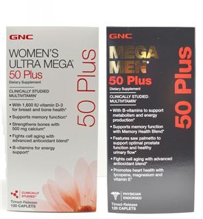 美国直邮 超值套装 GNC50岁以上男士女士多种维生素缓释片120粒*2