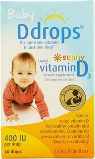 免运费!包美国直邮 Baby Ddrops D3婴儿维生素D3滴剂 1.7ml/60滴