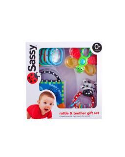 美国 sassy新生儿礼盒4件套 婴儿益智玩具/牙胶固齿器手摇铃声音书