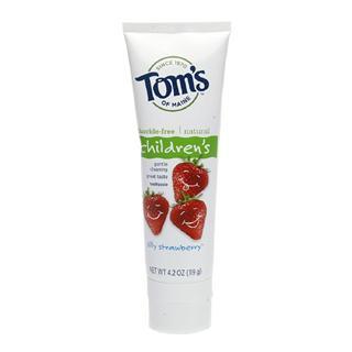 Toms of Maine儿童天然草莓味无氟牙膏安全可吞服-3支装