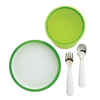 直邮包关税 美国OXO tot宝宝婴幼儿 不锈钢叉勺防洒微波餐盘 密封碗 四件套餐具 绿色