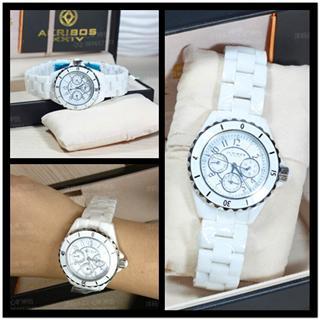 美国正品Akribos XXIV 阿克波斯三眼白色 陶瓷大表盘女表手表包邮
