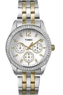 美国直邮Timex 时尚潮流百搭双色钢带石英表商务欧美女表T2P193