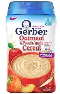 美国 GERBER 嘉宝 二段米粉 (燕麦和苹果桃子口味) 227g/罐