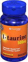 免运费!包美国直邮vitamin world 牛磺酸500mg 50粒 抗疲劳护眼