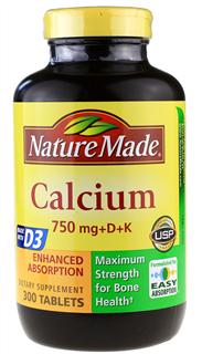 美国直邮 Nature Made Calcium钙片750mg 维生素D+K 300粒