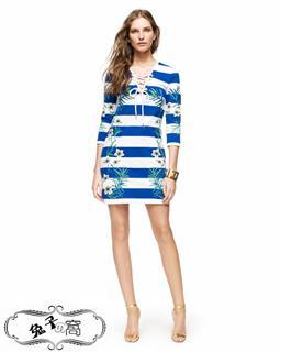 美国直邮【Juicy Couture】纯棉印花七分袖连衣裙-多色-JG007449