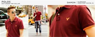 美国代购AE American Eagle美国之鹰 男士经典纯色纯棉短袖POLO衫