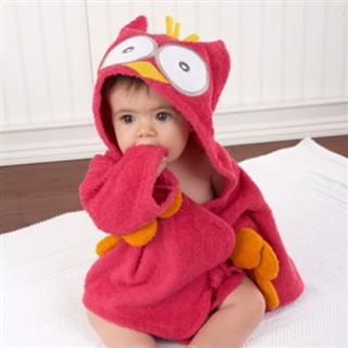 【包邮】美国Baby Aspen顶级宝宝浴袍 婴儿浴巾 猫头鹰河马鲨鱼