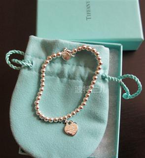 美国专柜代购Tiffany/蒂芙尼/纯银珐琅蓝心/爱心串珠手链多款包邮