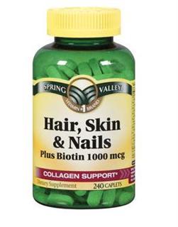 免运费包美国直邮Spring Valley胶原蛋白 头发指甲皮肤营养素240粒