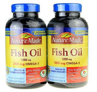 特惠!2罐美国原装Nature Made Fish Oil 深海鱼油1200mg200粒