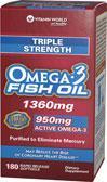 美国直邮Vitamin World欧米伽-3 Omega-3三倍深海鱼油1360毫克60粒
