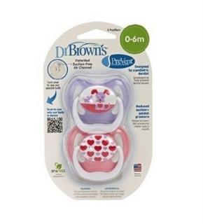 美国直邮Dr Brown's布朗博士宝宝安抚奶嘴 符合人体学0-6M 2个装