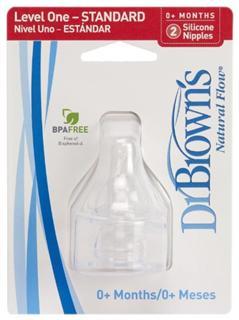 换购美国 Dr. Brown's 布朗博士标准/宽口口硅胶奶嘴 2只装1/2/3Y