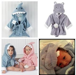 美国代购 Baby Aspen顶级宝宝浴袍 可爱的小鲨鱼 婴儿浴巾礼品