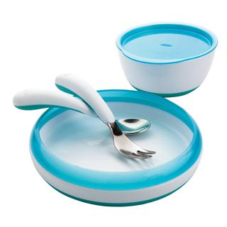 【包邮】美国OXO tot 婴幼儿盘子/小碗 不锈钢叉勺 四件套装餐