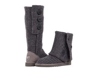 美国原盒包邮!2013年Ugg灰色毛线编织纯色简约女士高筒靴