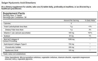 免运费包美国直邮 Solgar透明质酸+胶原蛋白120mg保湿抗衰老30片