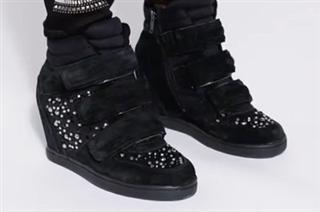 Aldo(奥尔多)黑色带水钻内增高 休闲 高帮鞋  全麂皮