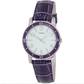 美国直邮timex紫色皮带表带防水石英表T2P052