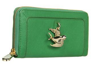 Juicy Couture 限量可爱皮革拉链钱包 绿色小鸟 白色帆船