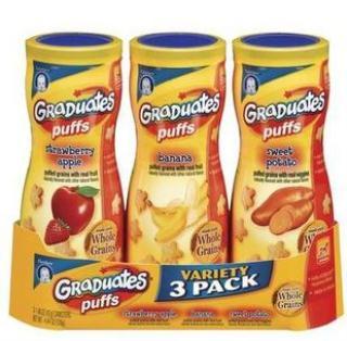 Gerber嘉宝星星泡芙草莓苹果、香蕉、甜薯 手指泡芙