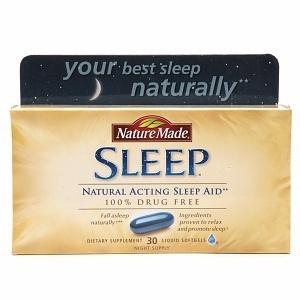 免运费包美国直邮Nature Made Sleep Aid 纯天然睡眠辅助胶囊30粒