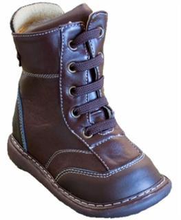 美国直邮 Wee Squeak 可爱舒适男童靴 棕色 皮革鞋面 橡胶底