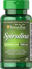 (5瓶)普瑞登Puritan's pride 螺旋藻片 500mg100粒 提高精力3286