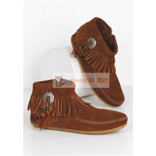 Foxxy美代  迷你唐卡Minnetonka 520 Ankle Boot 羽毛女短靴