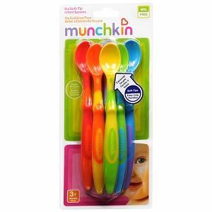 美国直邮Munchkin麦肯奇 婴儿彩色长柄软头小勺 不含BPA