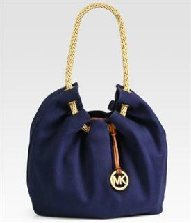 美国代购Michael Kors MK 女士帆布抽带单肩包/桶包2色入特价包邮