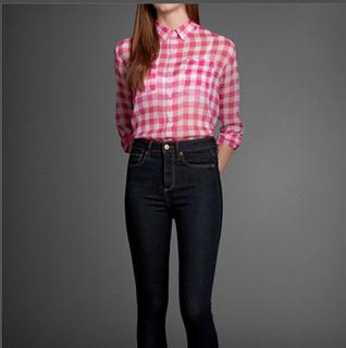 美国代购专柜正品Abercrombie&Fitch女士时尚格子透视衬衣63684