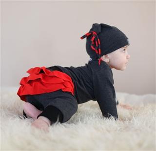 顶级婴儿服装kidCuteTure Bluebell Top & Bottom in Charcoal