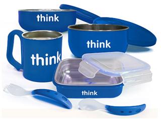 [包邮] 13年新包装 美国ThinkBaby不锈钢餐具套装 4件套 4色