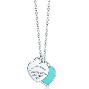 美国代购 蒂芙尼Tiffany double heart 双心珐琅项链