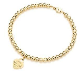 【美国直邮包关税免邮费】Tiffany Bead 18K纯金手链